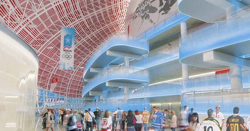 Большая ледовая арена для хоккея с шайбой на 12 000 мест в Сочи